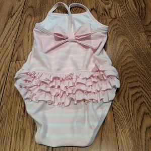 Janie and Jack ruffle bow pink swim suit 6-12 mo